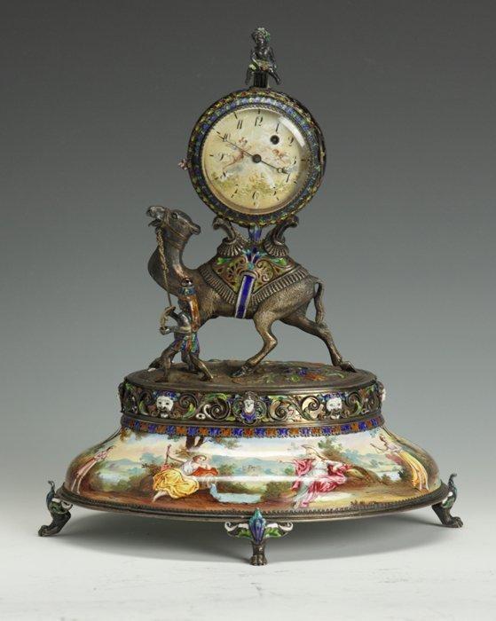 1: Viennese Silver & Enamel Camel-Form Table Clock