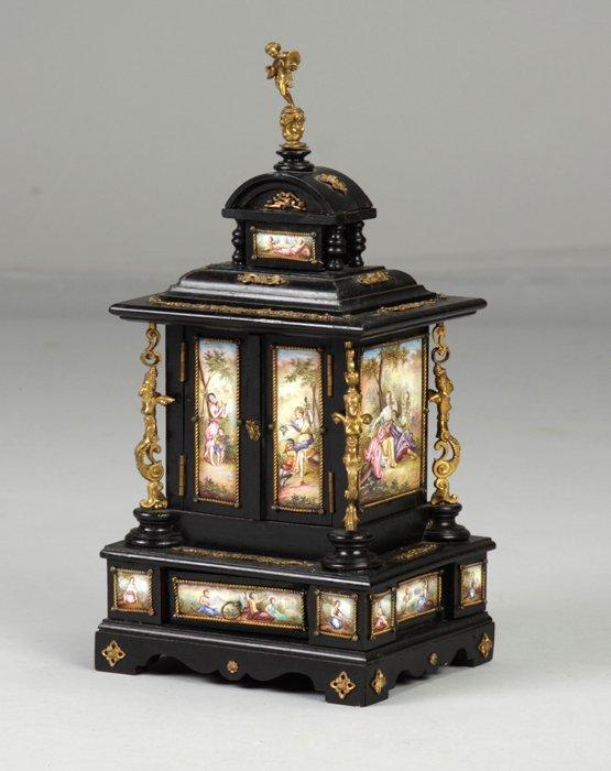 3: Enameled & Ebonized Jewelry Cabinet