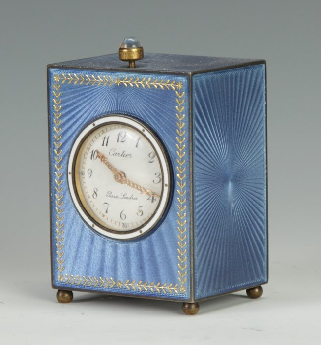 4: A Fine Cartier Blue Guilloche Clock