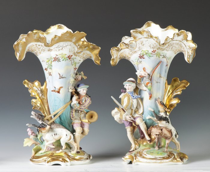 9: Old Paris Porcelain Spill Vases
