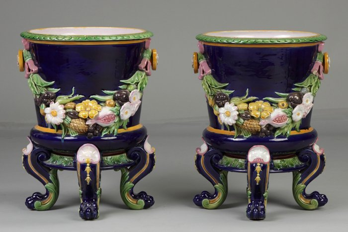 15: A Pair of Minton Majolica Planters