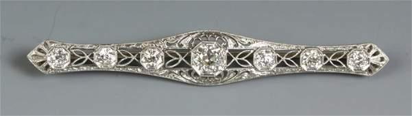 72: Platinum & Diamond Bar Pin
