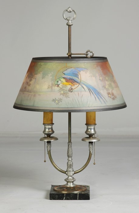 148: Pairpoint Reverse Painted Lamp with Parrot in Lake