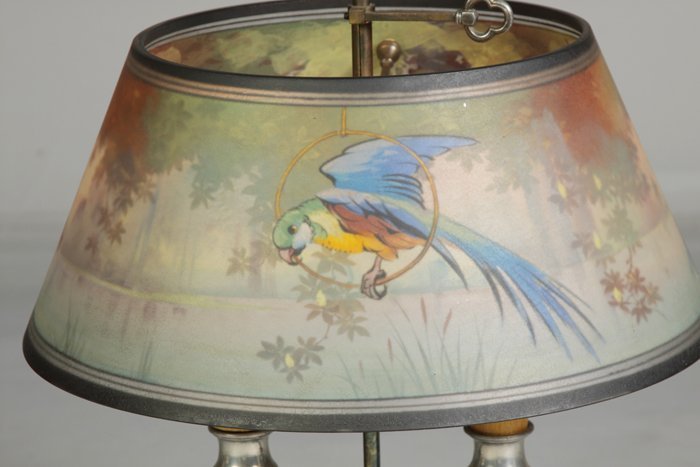 148: Pairpoint Reverse Painted Lamp with Parrot in Lake - 2