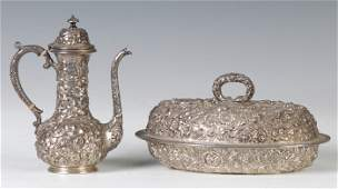 176: Sterling Silver Chocolate Pot & Vegetable Dish