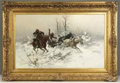 """205: Josef Von Brandt (Polish, 1841-1915) """"The Escape"""""""