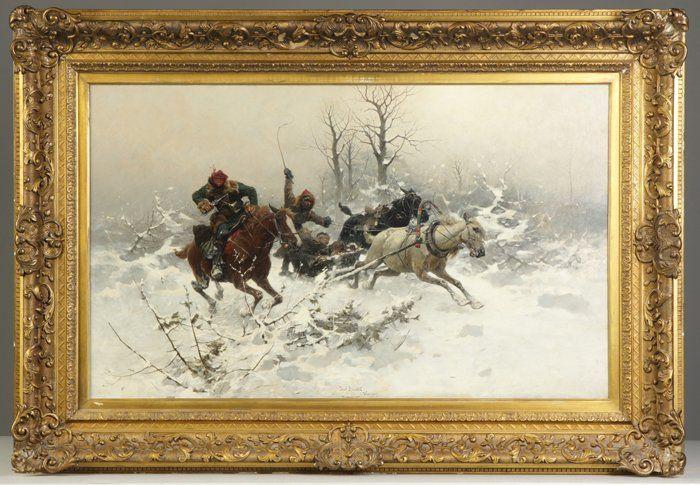 """Josef Von Brandt (Polish, 1841-1915) """"The Escape"""""""