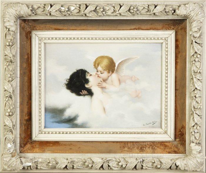 """14: Victorian Painting on Glazed Tile """"Ein Liebestraum"""""""