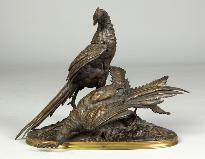 17: Ferdinand Pautrot (French, 1832-1874) Bronze Pheasa