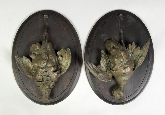 18: 4 Patinated Metal Birds Mounted on Boards