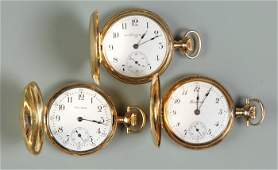 19 3 Ladies 14K Gold Pendant Pocket Watches