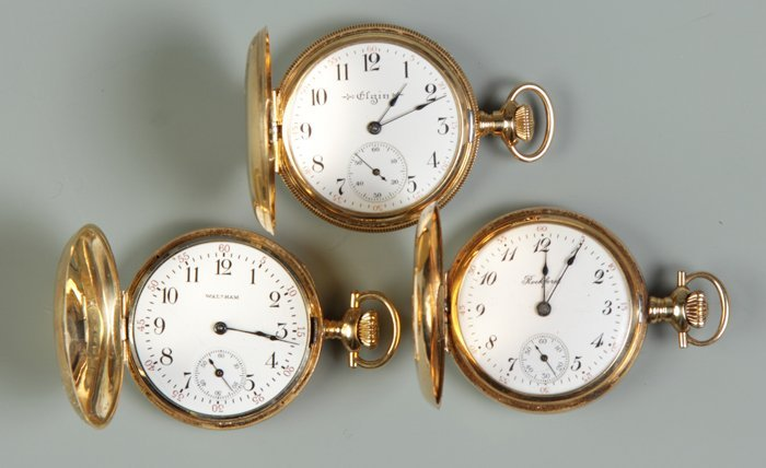 19: 3 Ladies 14K Gold Pendant Pocket Watches