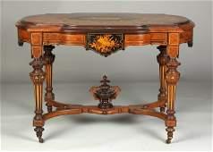 86: A Fine Victorian Inlaid & Gilded Walnut Parlor Tabl