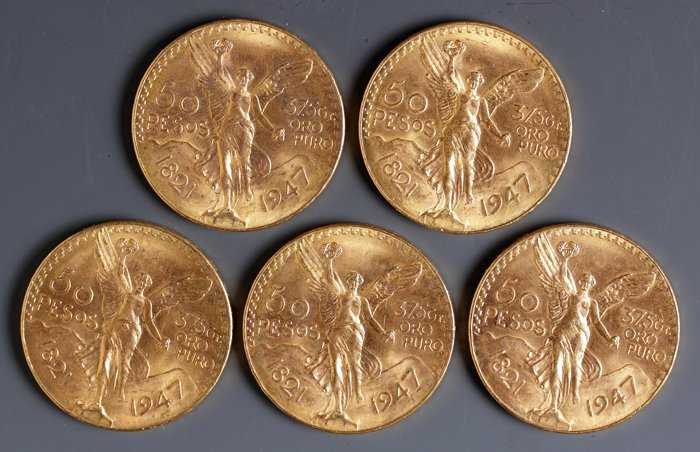Five 50-Peso Gold Coins