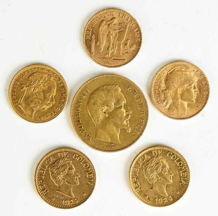 4 Gold Francs & 2 Gold Pesos