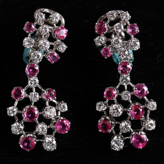 14K Gold Diamond & Ruby Earrings