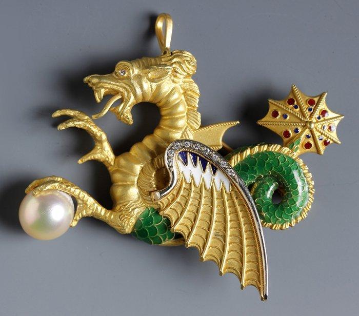 Tiffany & Co. 18K Dragon Brooch