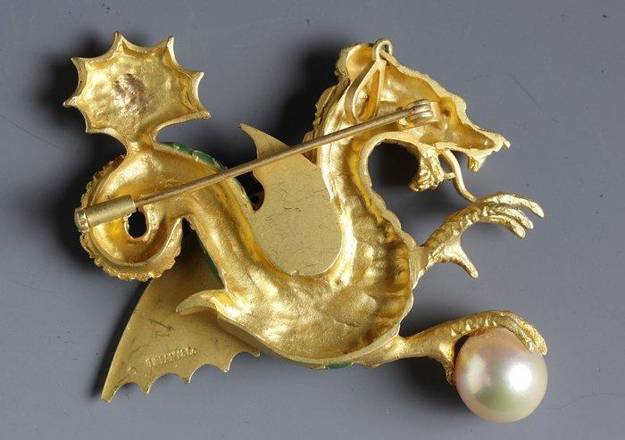 Tiffany & Co. 18K Dragon Brooch - 2