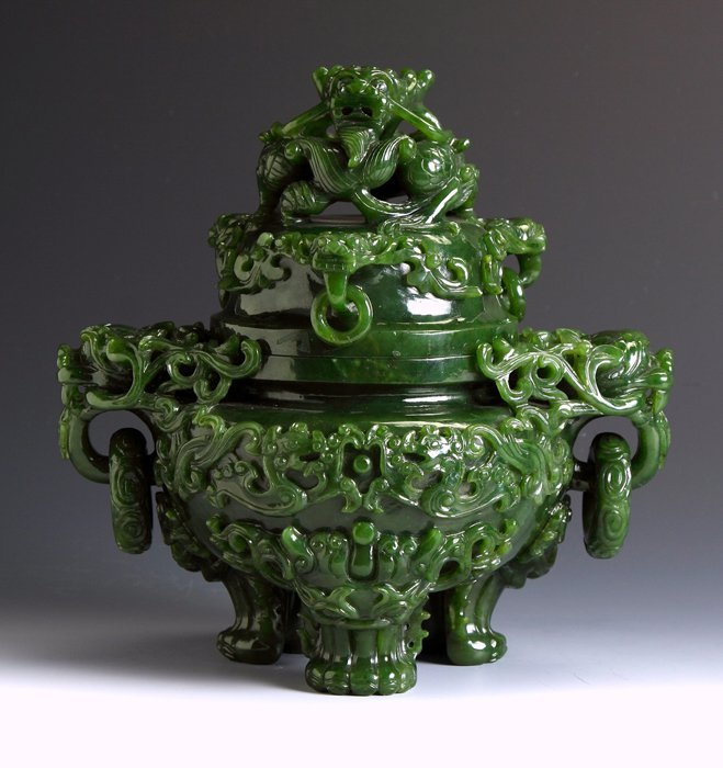 Chinese Spinach Jade Censor