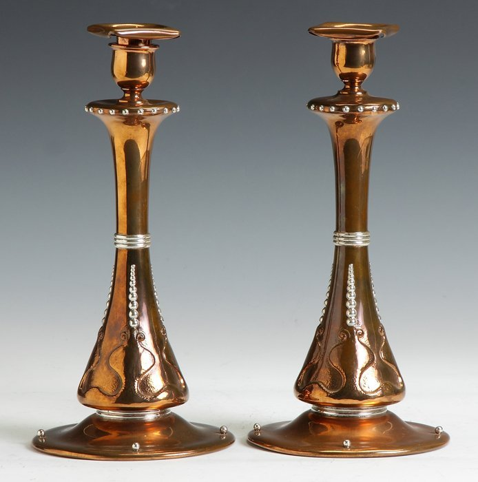 Tiffany & Co. Hammered Copper & Sterling Candlesticks