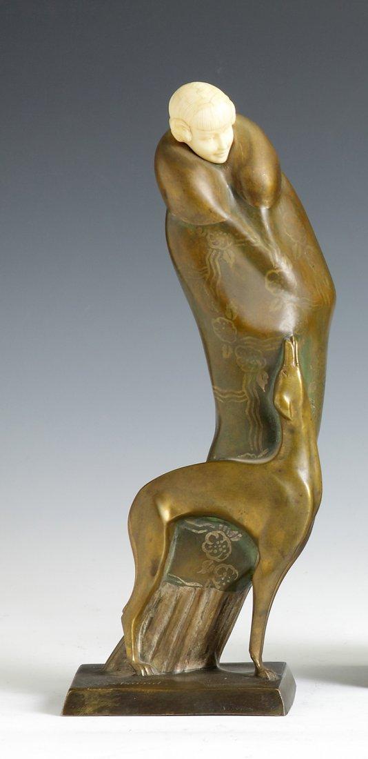 Solange Bertrand  (B. 1913 - ) Gilded Bronze & Ivory Yo