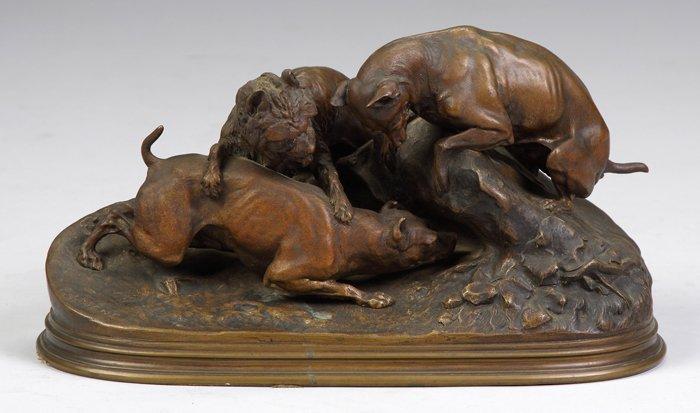 Pierre-Jules Mene (French, 1810-1879) Bronze of Hunting