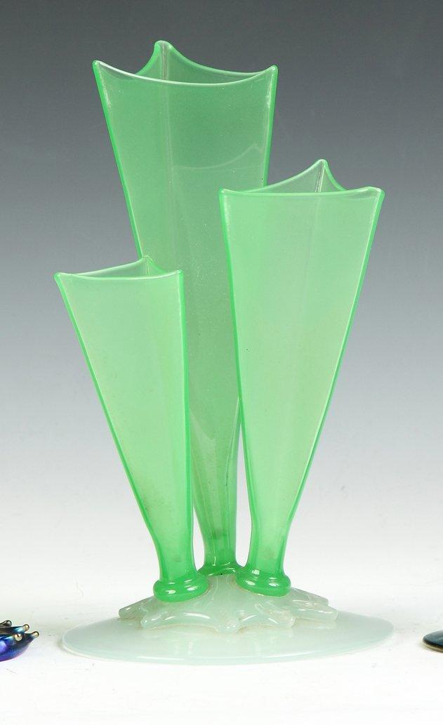 Steuben Jade Green & Alabaster 3 Prong Vase