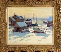 Emile A. Gruppe (American, 1896-1978) Winter harbor sce