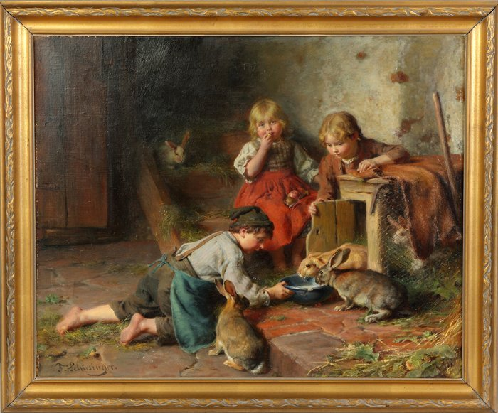 Felix Schleisinger (German, 1833-1910) Children feeding