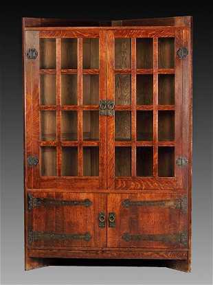 Rare Gustav Stickley Oak Corner Cupboard