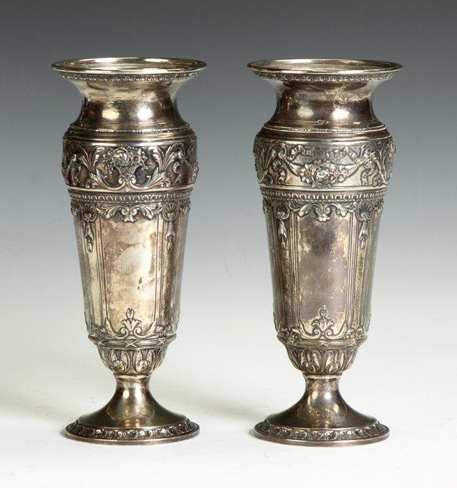 Pair of Sterling Silver Vases