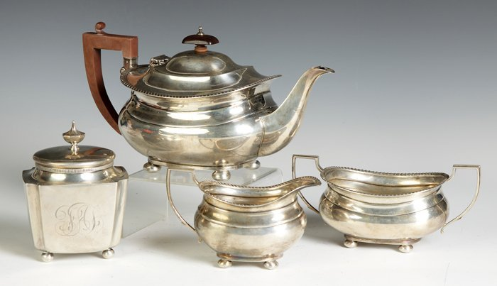3 Piece Sterling Silver Tea Set together with Tea Caddy