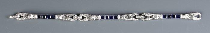 Platinum, Diamond & Synthetic Sapphire Bracelet