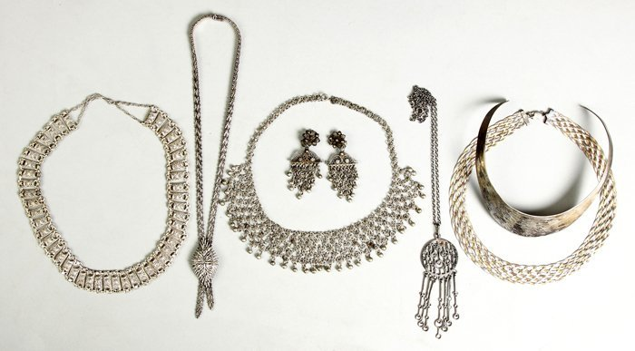 Group of Silver Necklaces