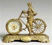 British United Clock Co. Cast Brass Bicycle Clock