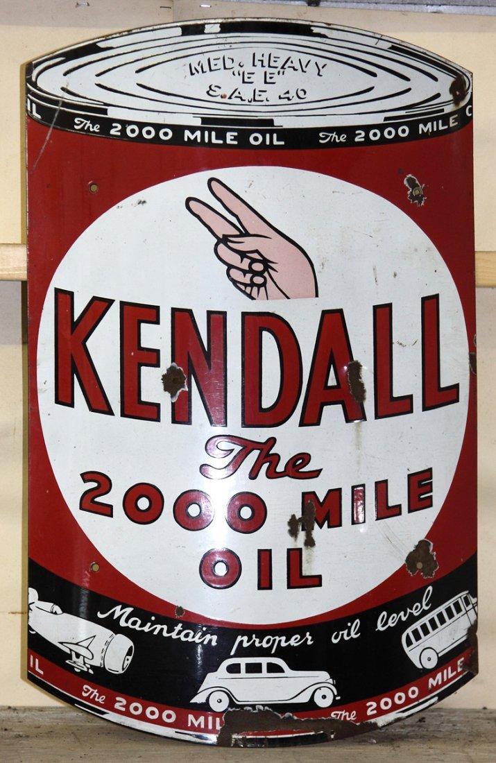 Vintage Kendall Convex Porcelain Sign