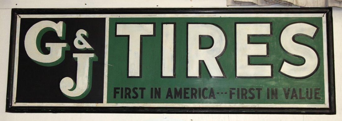 Vintage G & J Tires Tin Sign