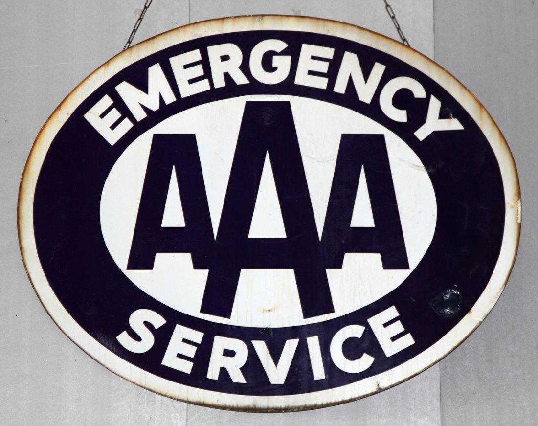 Vintage AAA  Emergency Service Porcelain Sign
