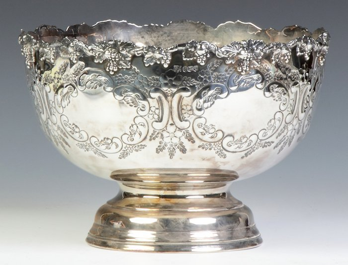 English Sterling Silver Repousse Center Bowl