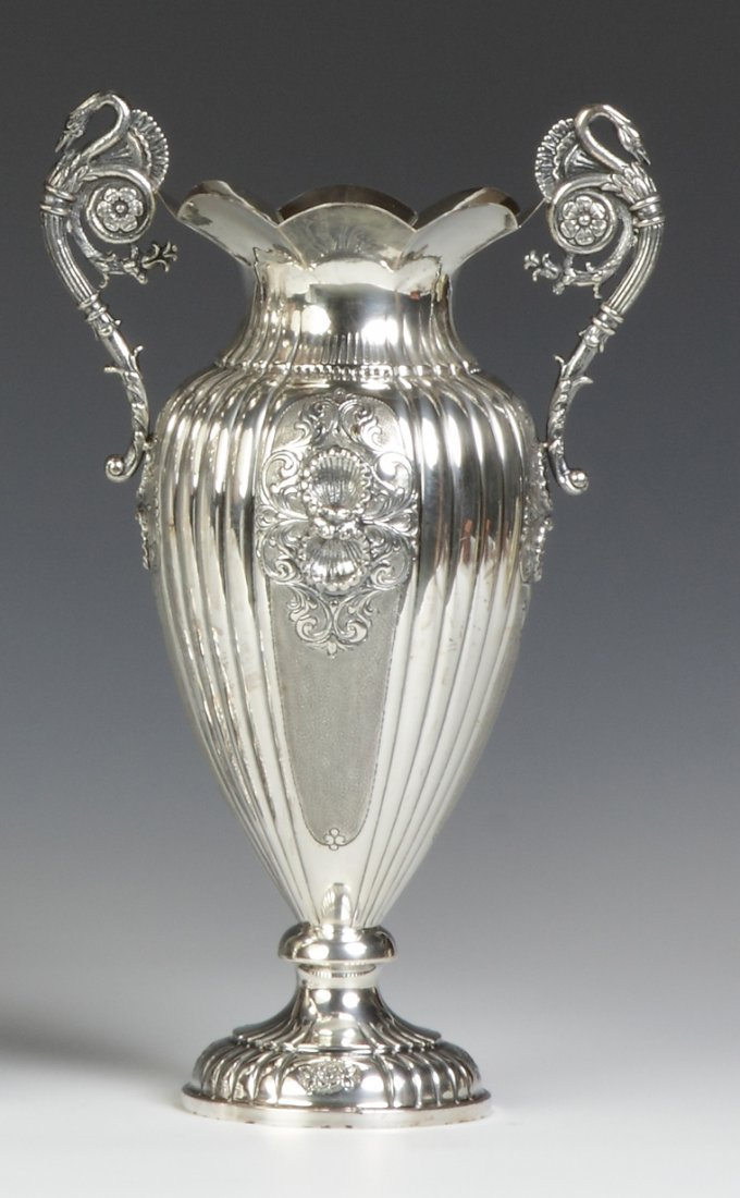 Continental Silver Handled Vase