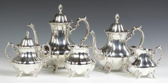 Poole Sterling Silver 5-Piece Tea Set