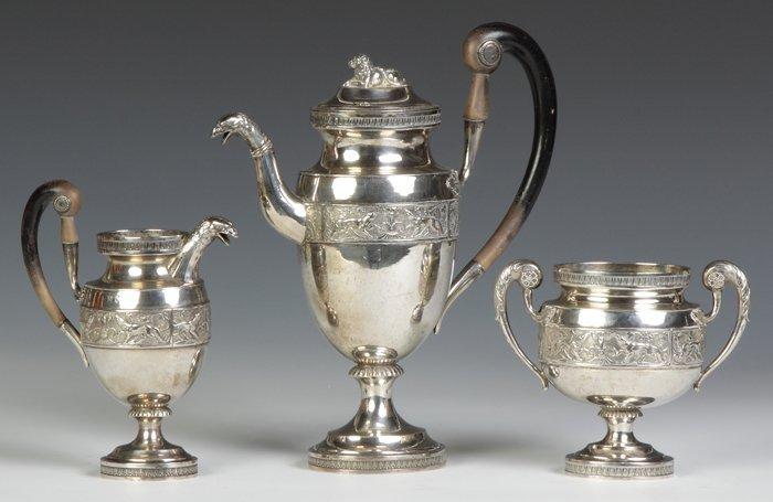 Three Piece Coin Silver Tea Set