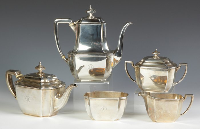 Tiffany & Co. Makers Sterling Silver 5-Piece Tea &