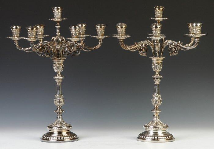 Pair of Sterling Silver Buccellati Candelabras