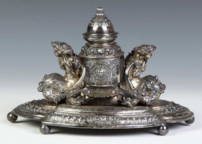 Continental Silver Inkwell