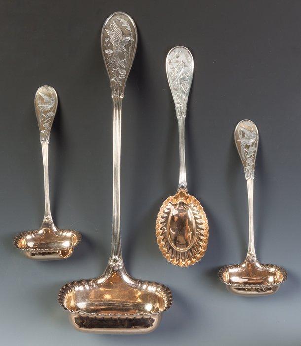Four Tiffany Audubon Pattern Sterling Silver Serving