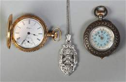 Two Ladies Pocket Watches  Necklace