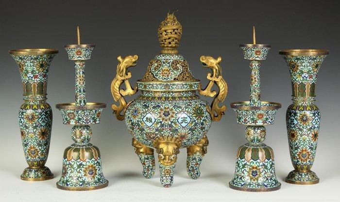 Chinese Cloisonné 5-Pc. Garniture Set
