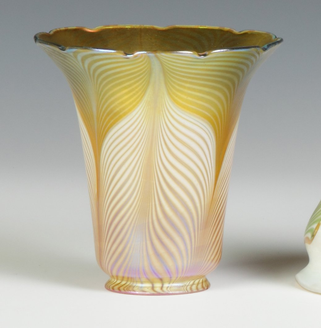 Gold Art Glass Shade with Pulled Feather Decoration