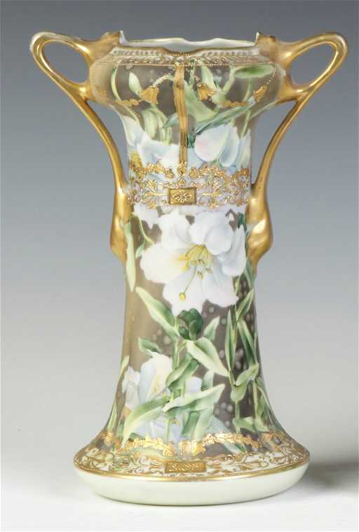 Nippon Hand Painted Gold Leaf Vase